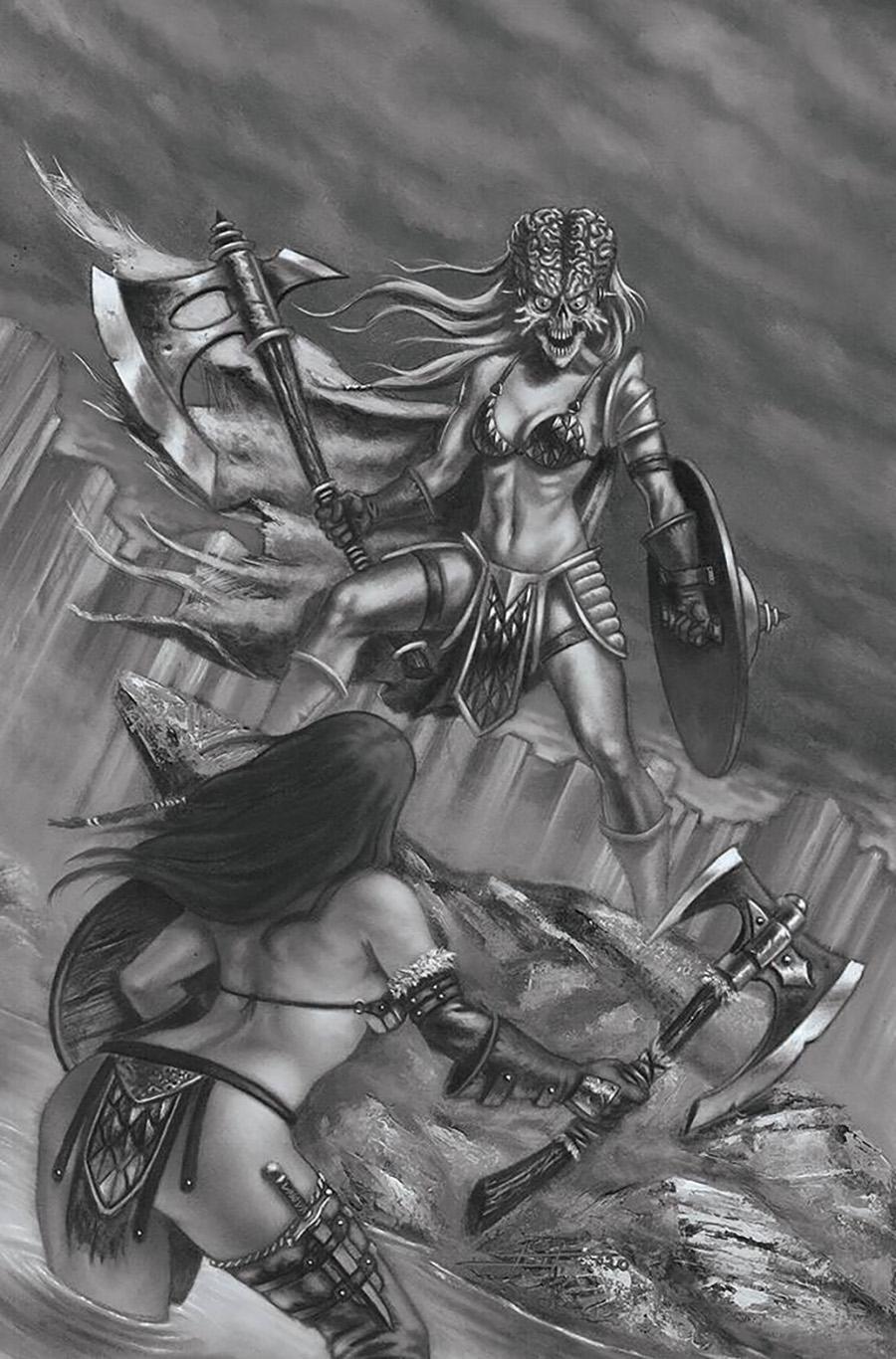 Mars Attacks Red Sonja #5 Cover F Incentive Luca Strati Black & White Virgin Cover