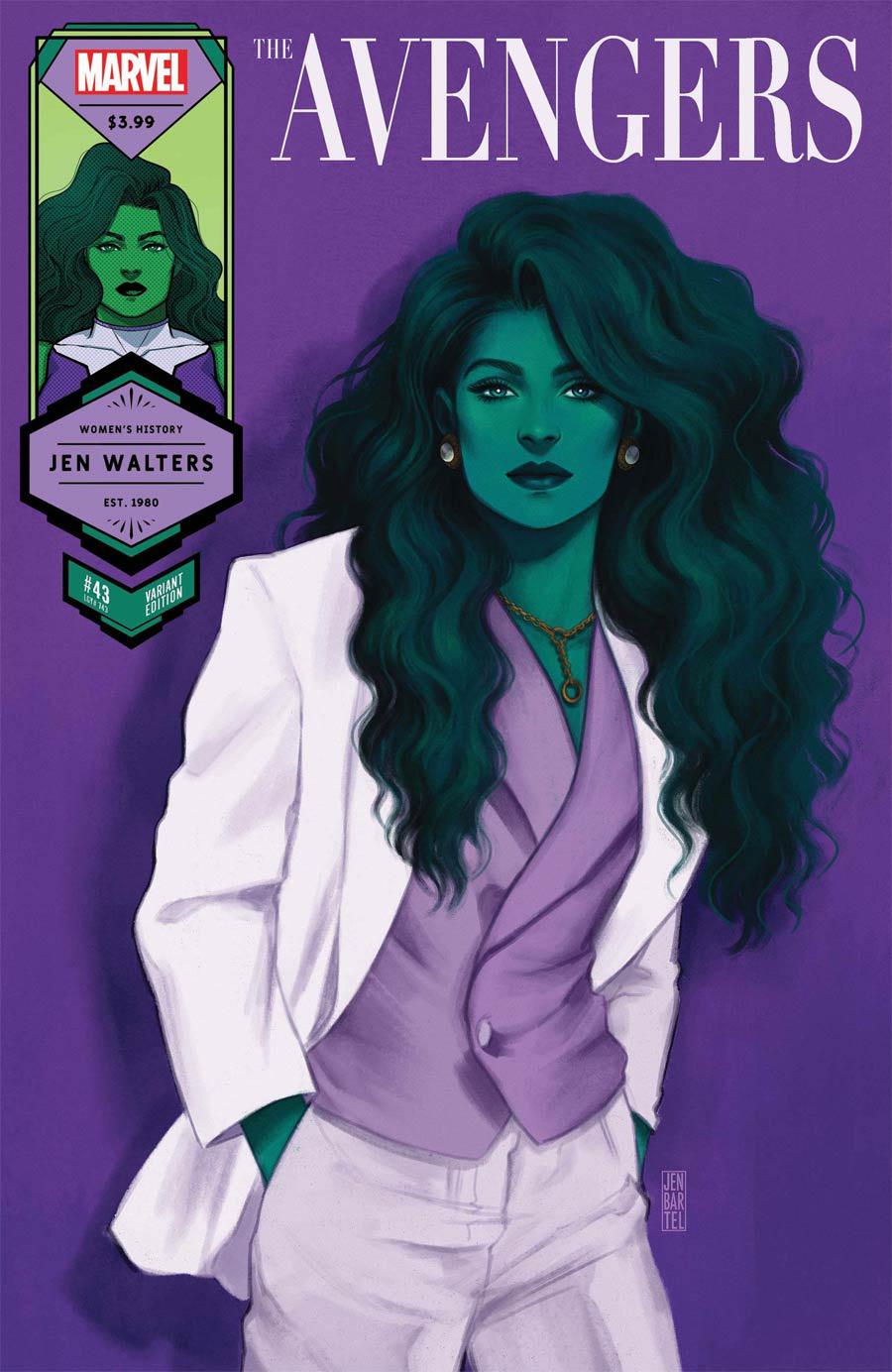 Avengers Vol 7 #43 Cover B Variant Jen Bartel She-Hulk Womens History Month Cover