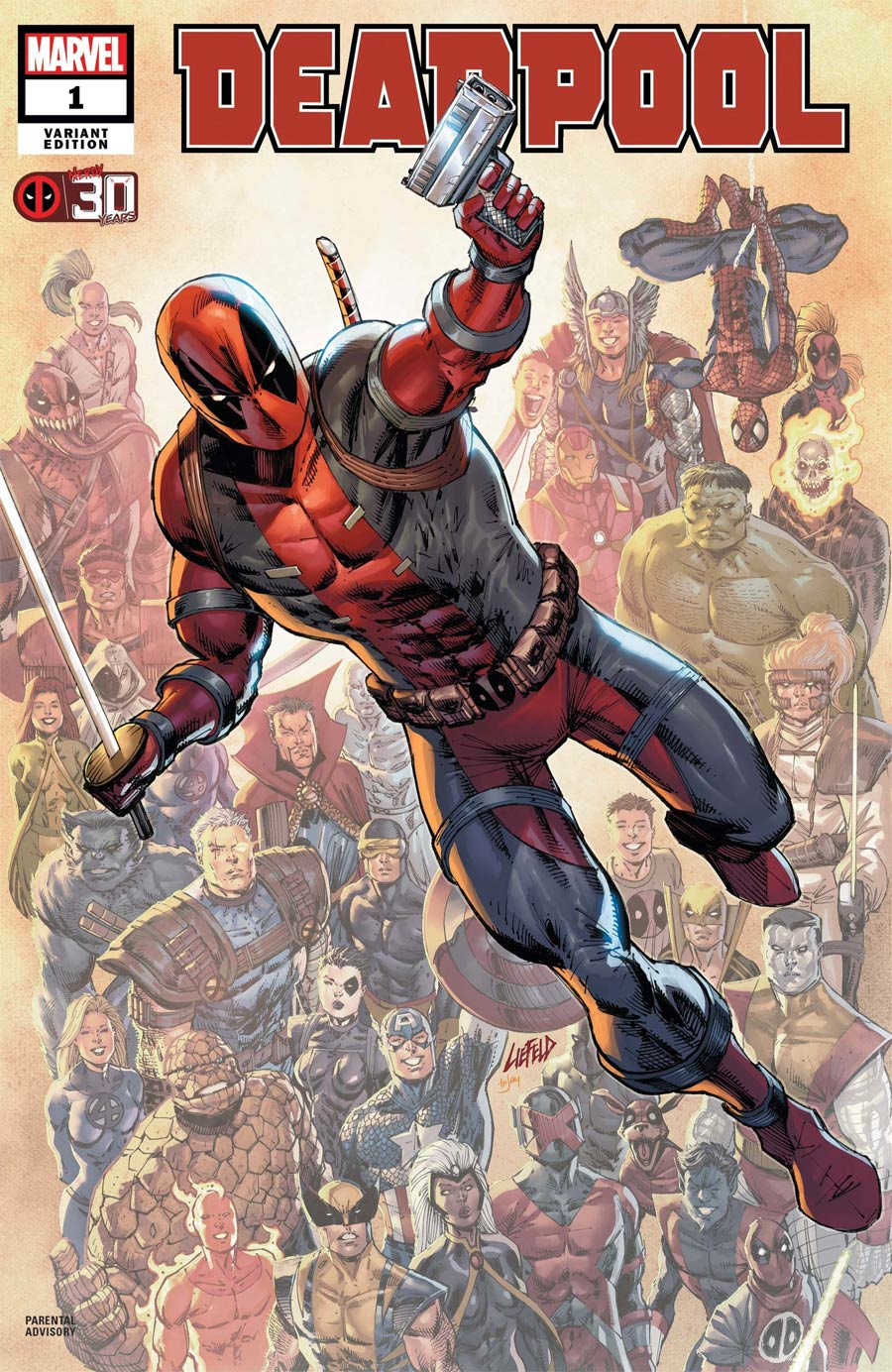 Deadpool Nerdy 30 #1 (One Shot) Cover B Variant Rob Liefeld Deadpool 30th Anniversary Cover