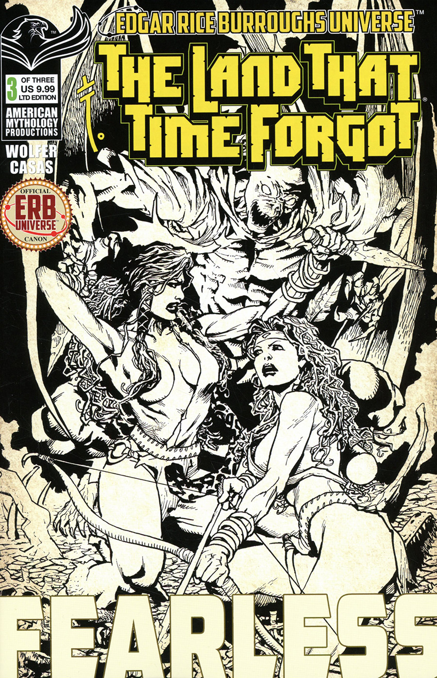 Land That Time Forgot Fearless #3 Cover B Limited Edition Roy Allan Martinez Black & White Cover