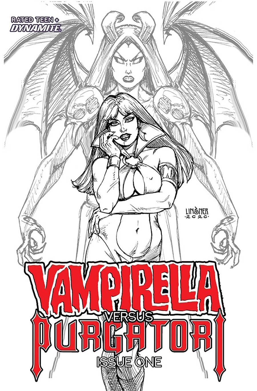 Vampirella vs Purgatori #1 Cover L Incentive Joseph Michael Linsner Black & White Cover
