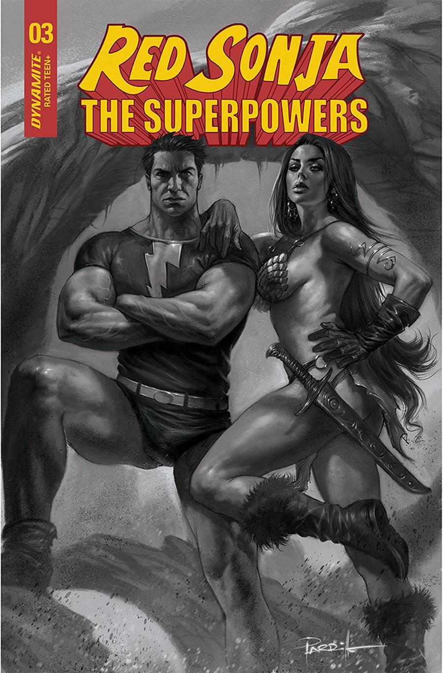 Red Sonja The Superpowers #3 Cover L Incentive Lucio Parrillo Black & White Cover