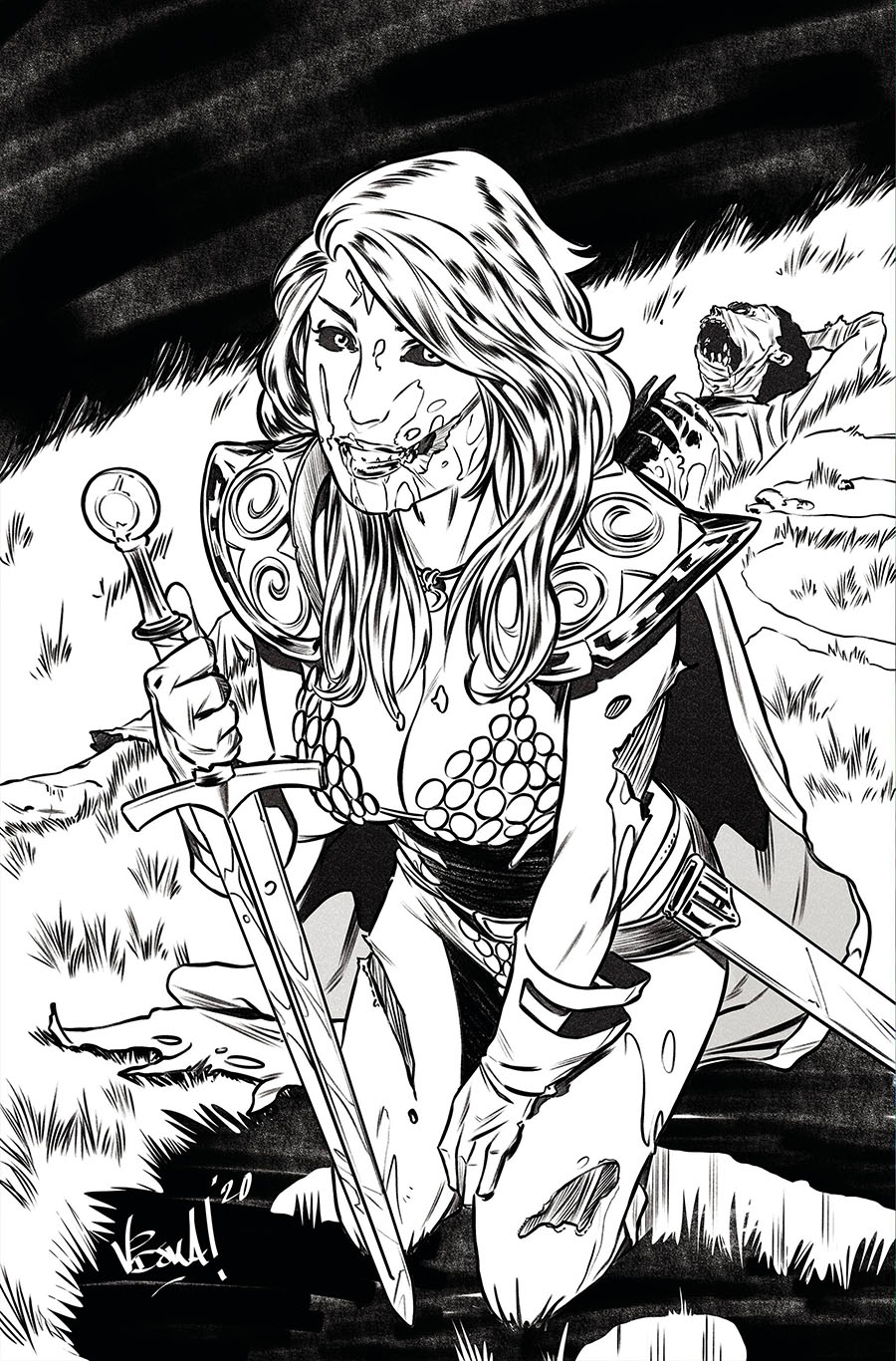 Red Sonja The Superpowers #1 Cover G Incentive Vincenzo Federici Zombie Black & White Virgin Variant Cover