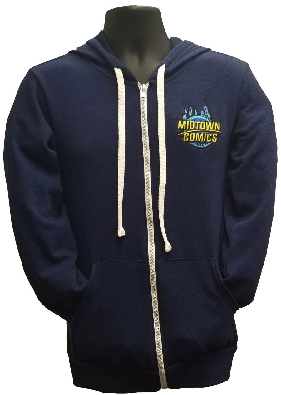 Midtown Comics Embroidered Logo Navy Full-Zip Hoodie Large