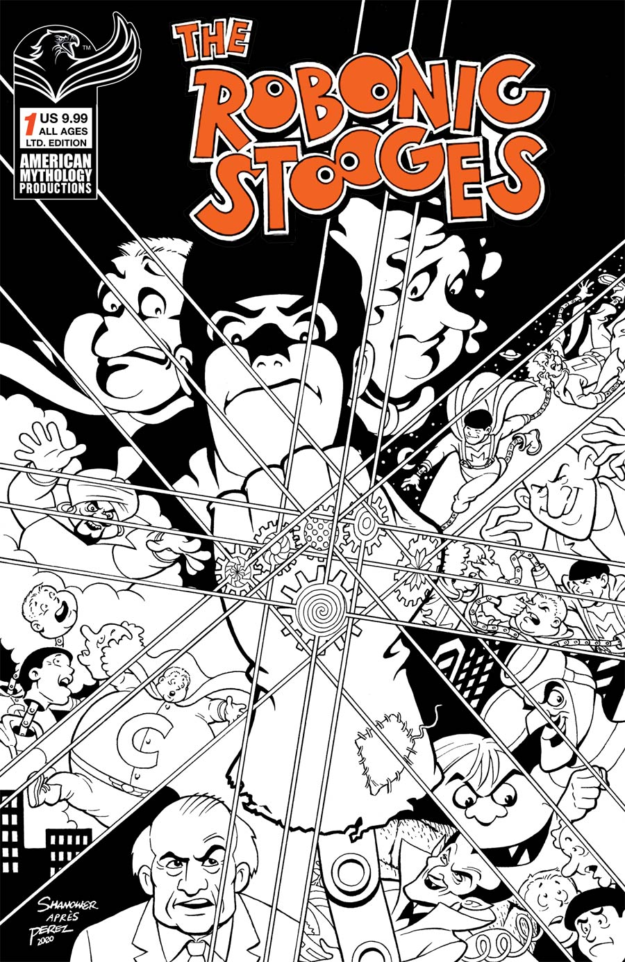 Robonic Stooges #1 Return Cover C Limited Edition Eric Shanower Black & White Cover