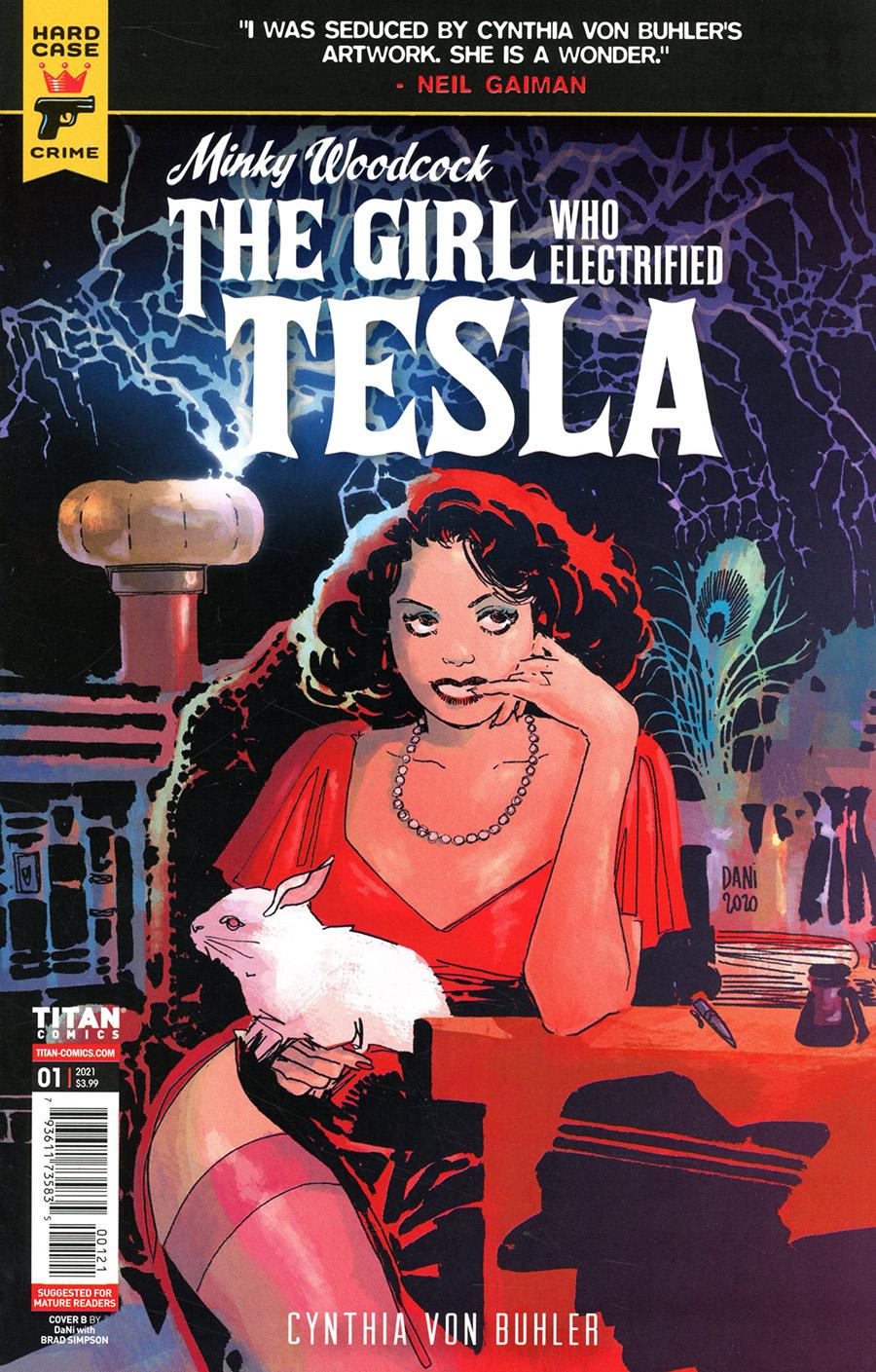 Hard Case Crime Minky Woodcock Girl Who Electrified Tesla #1 Cover B Variant Dani Strips Cover