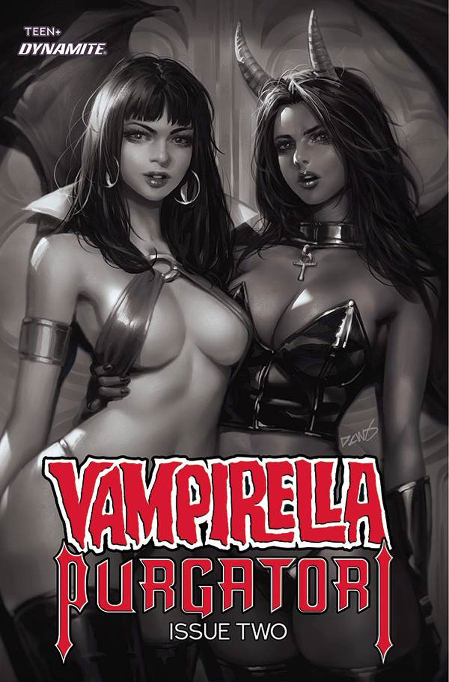 Vampirella vs Purgatori #2 Cover O Incentive Derrick Chew Black & White Cover