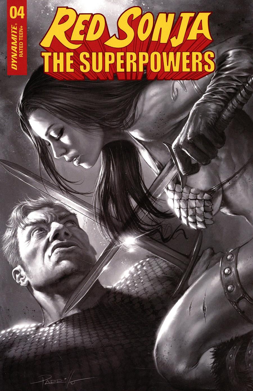 Red Sonja The Superpowers #4 Cover R Incentive Lucio Parrillo Black & White Cover