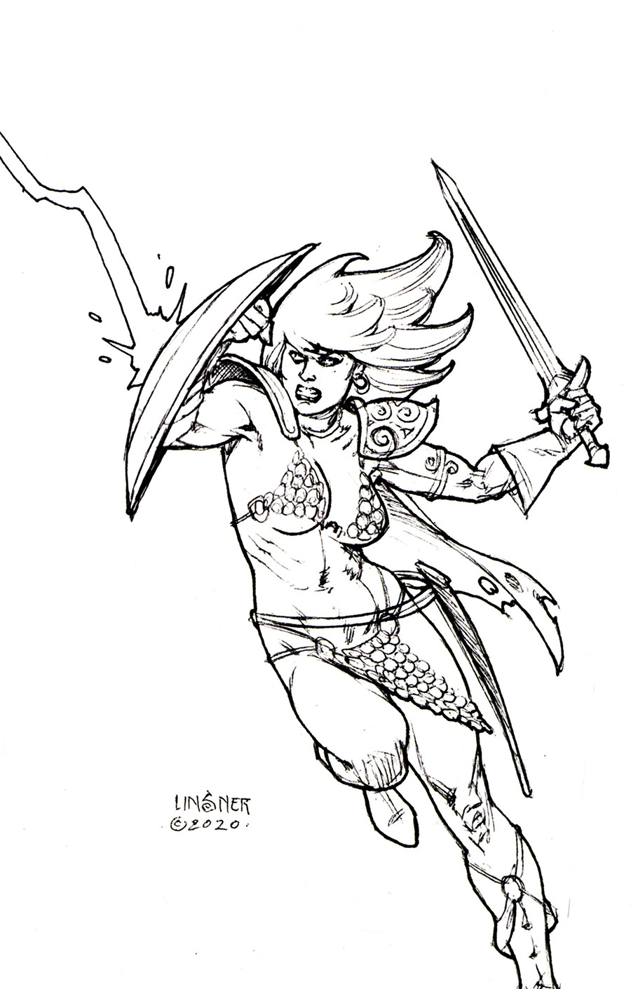 Red Sonja The Superpowers #4 Cover U Incentive Joseph Michael Linsner Black & White Virgin Cover