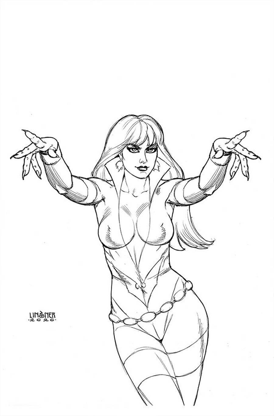 Vampirella The Dark Powers #5 Cover R Incentive Joseph Michael Linsner Black & White Virgin Cover