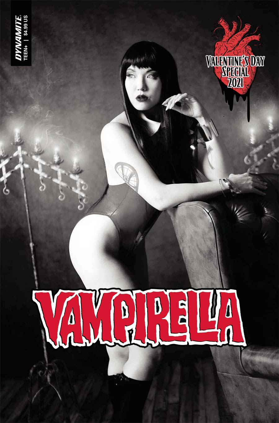 Vampirella Valentines Special (2021) One Shot Cover G Incentive Sarah Stalcup Cosplay Photo Black & White Cover