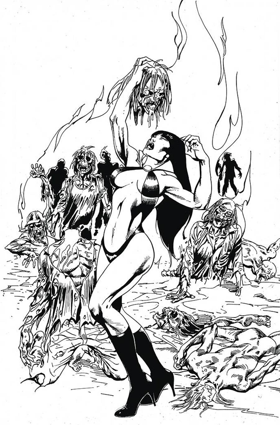 Vengeance Of Vampirella Vol 2 #14 Cover J Incentive Roberto Castro Black & White Virgin Cover
