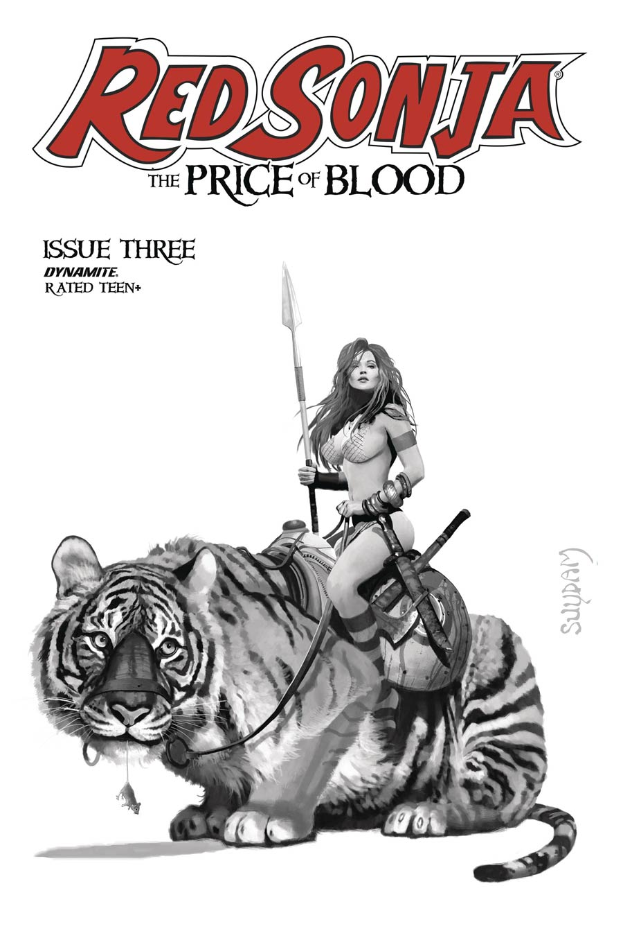 Red Sonja Price Of Blood #3 Cover G Incentive Arthur Suydam Black & White Cover