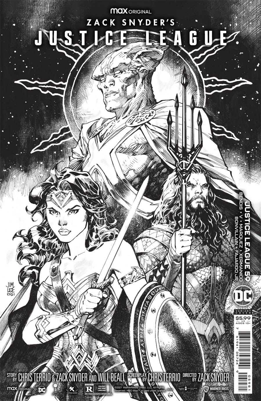 Justice League Vol 4 #59 Cover H Incentive Jim Lee Snyder Cut Card Stock Black & White Cover