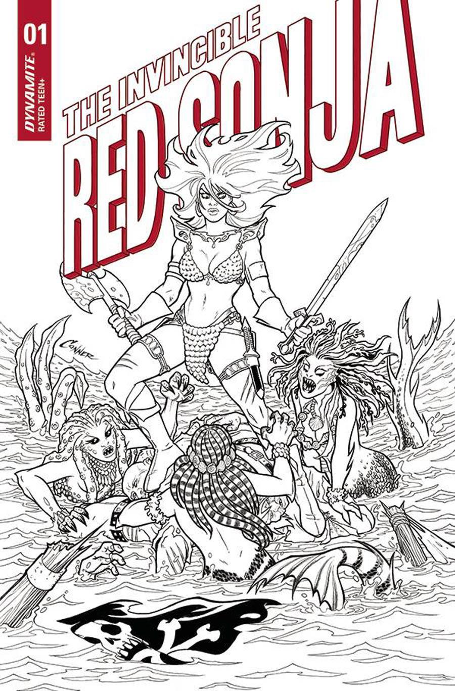 Invincible Red Sonja #1 Cover K Incentive Amanda Conner Line Art Cover