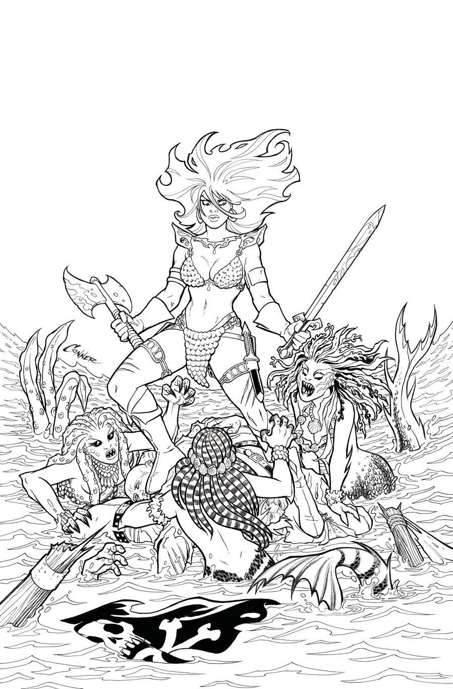 Invincible Red Sonja #1 Cover Q Incentive Amanda Conner Line Art Virgin Cover