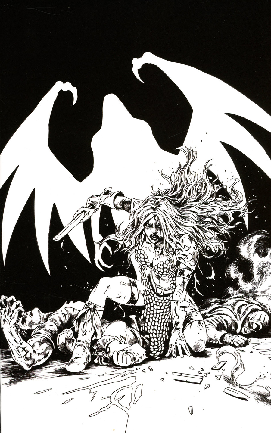 Red Sonja The Superpowers #5 Cover T Incentive Jonathan Lau Black & White Virgin Cover