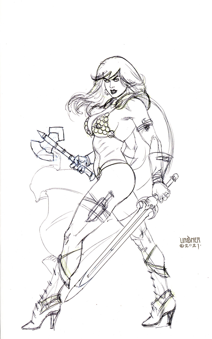 Red Sonja The Superpowers #5 Cover U Incentive Joseph Michael Linsner Black & White Virgin Cover