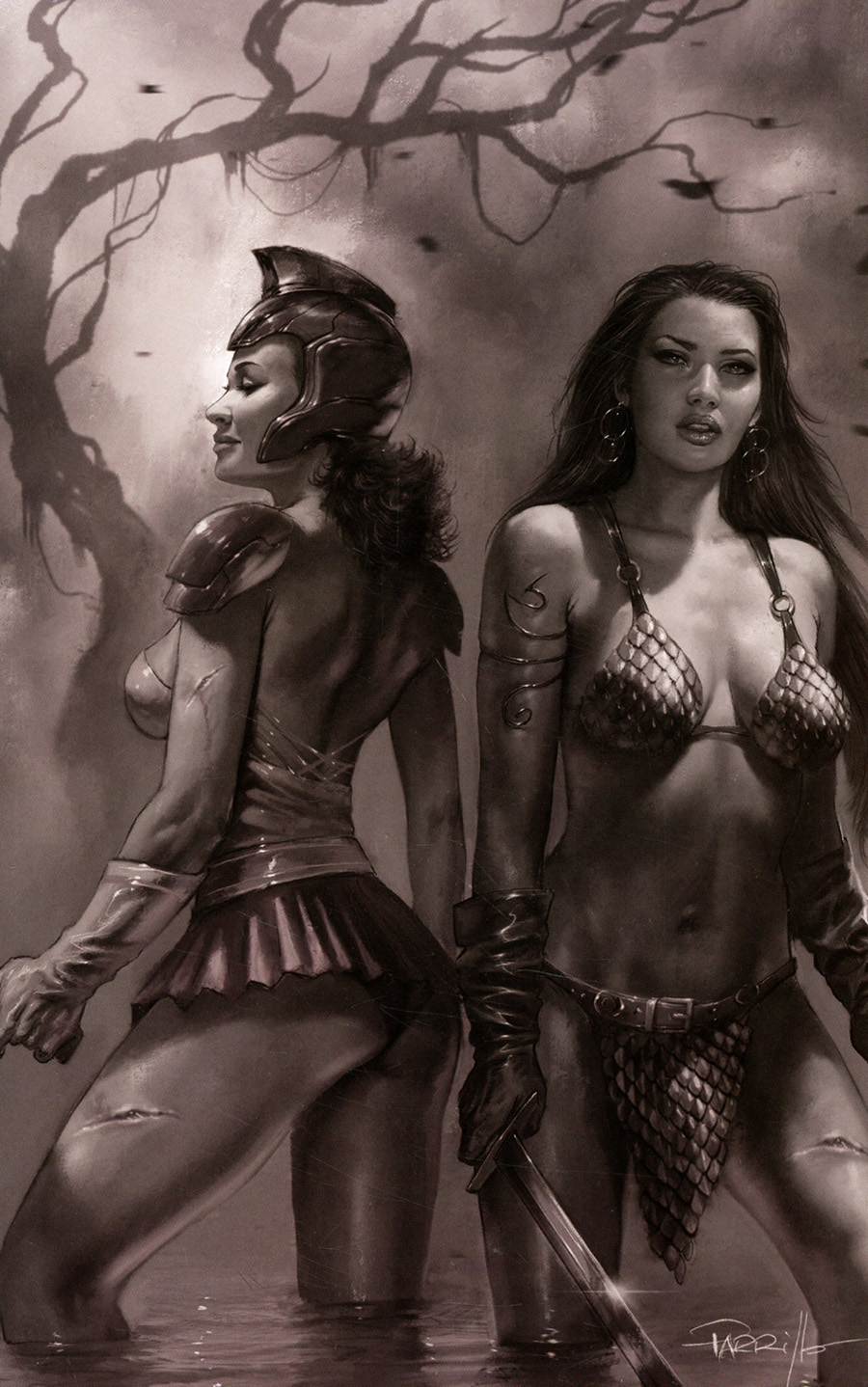 Red Sonja The Superpowers #5 Cover V Incentive Lucio Parrillo Black & White Virgin Cover
