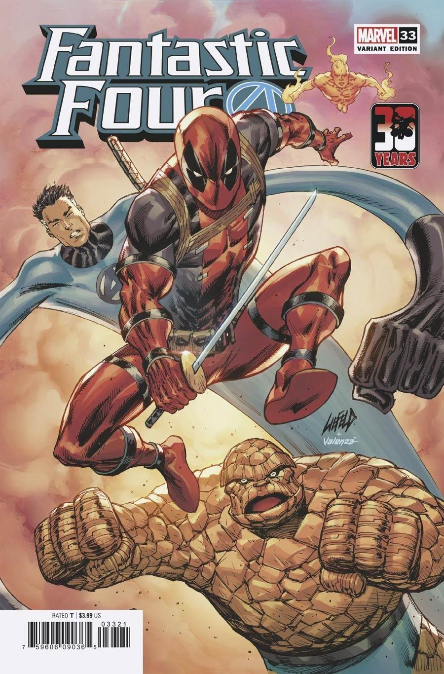 Fantastic Four Vol 6 #33 Cover C Variant Rob Liefeld Deadpool 30th Anniversary Cover