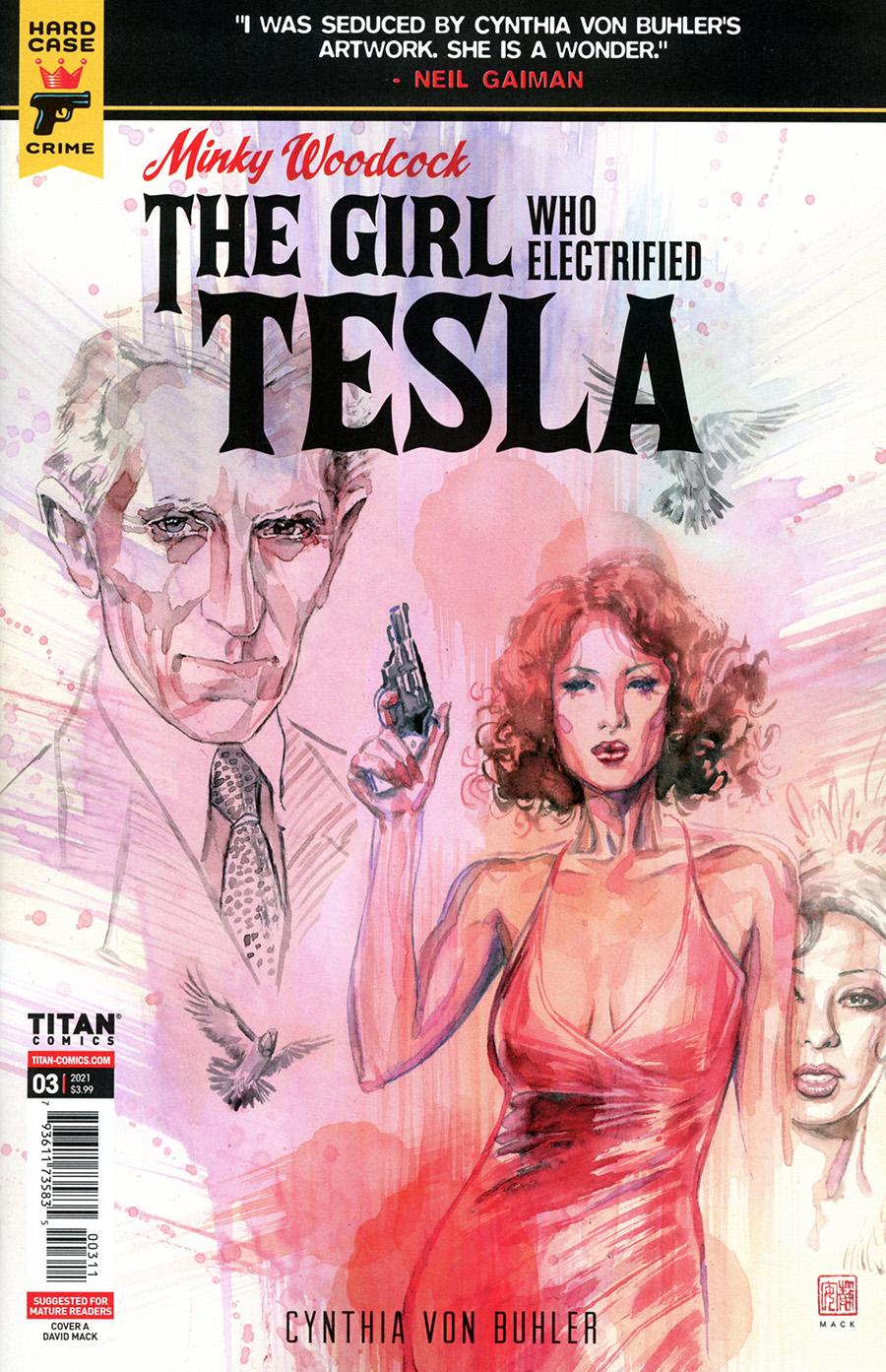 Hard Case Crime Minky Woodcock Girl Who Electrified Tesla #3 Cover A Regular David Mack Cover
