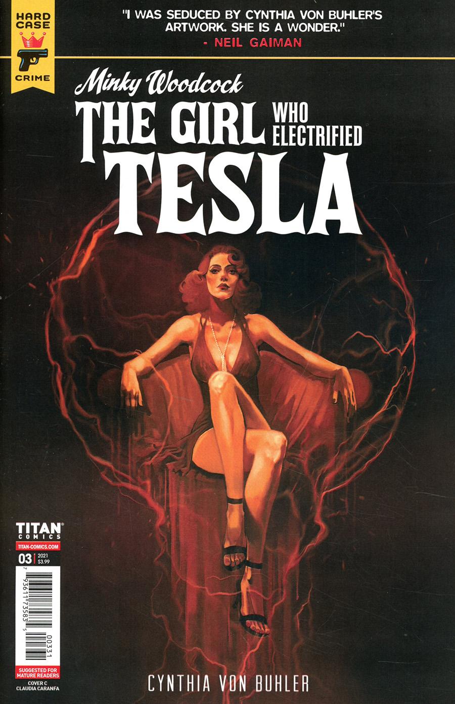 Hard Case Crime Minky Woodcock Girl Who Electrified Tesla #3 Cover C Variant Claudia Caranfa Cover