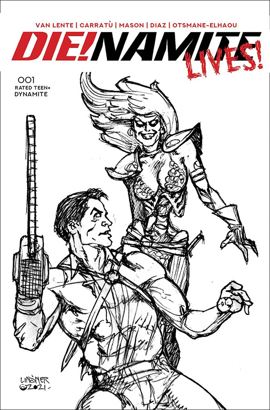 DieNamite Lives #1 Cover L Incentive Joseph Michael Linsner Pencil Art Cover