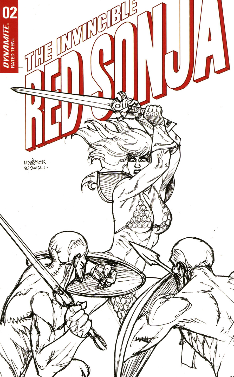 Invincible Red Sonja #2 Cover N Incentive Joseph Michael Linsner Line Art Cover