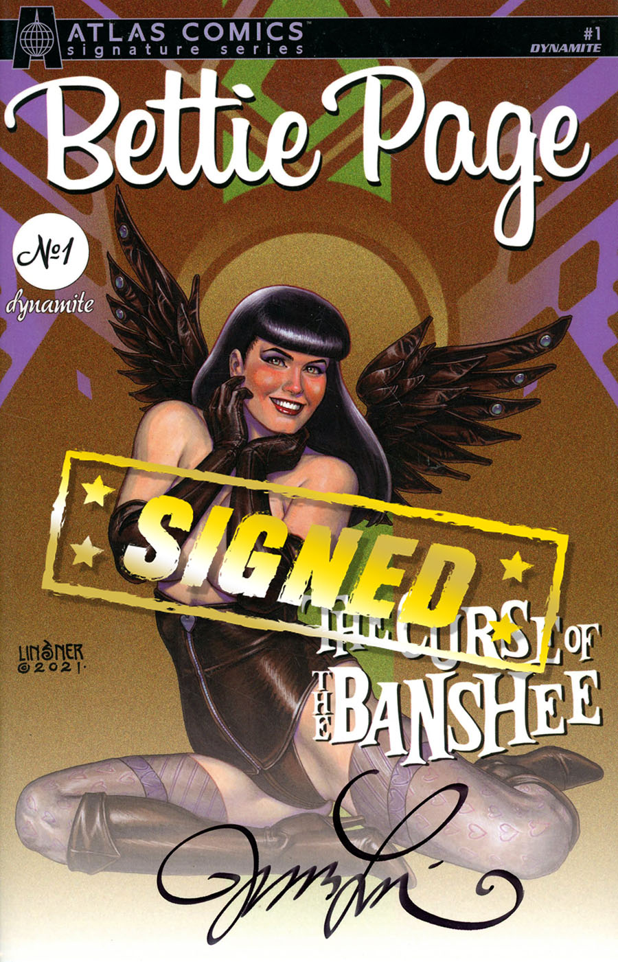 Bettie Page And The Curse Of The Banshee #1 Cover W Atlas Comics Signature Series Signed By Joseph Michael Linsner