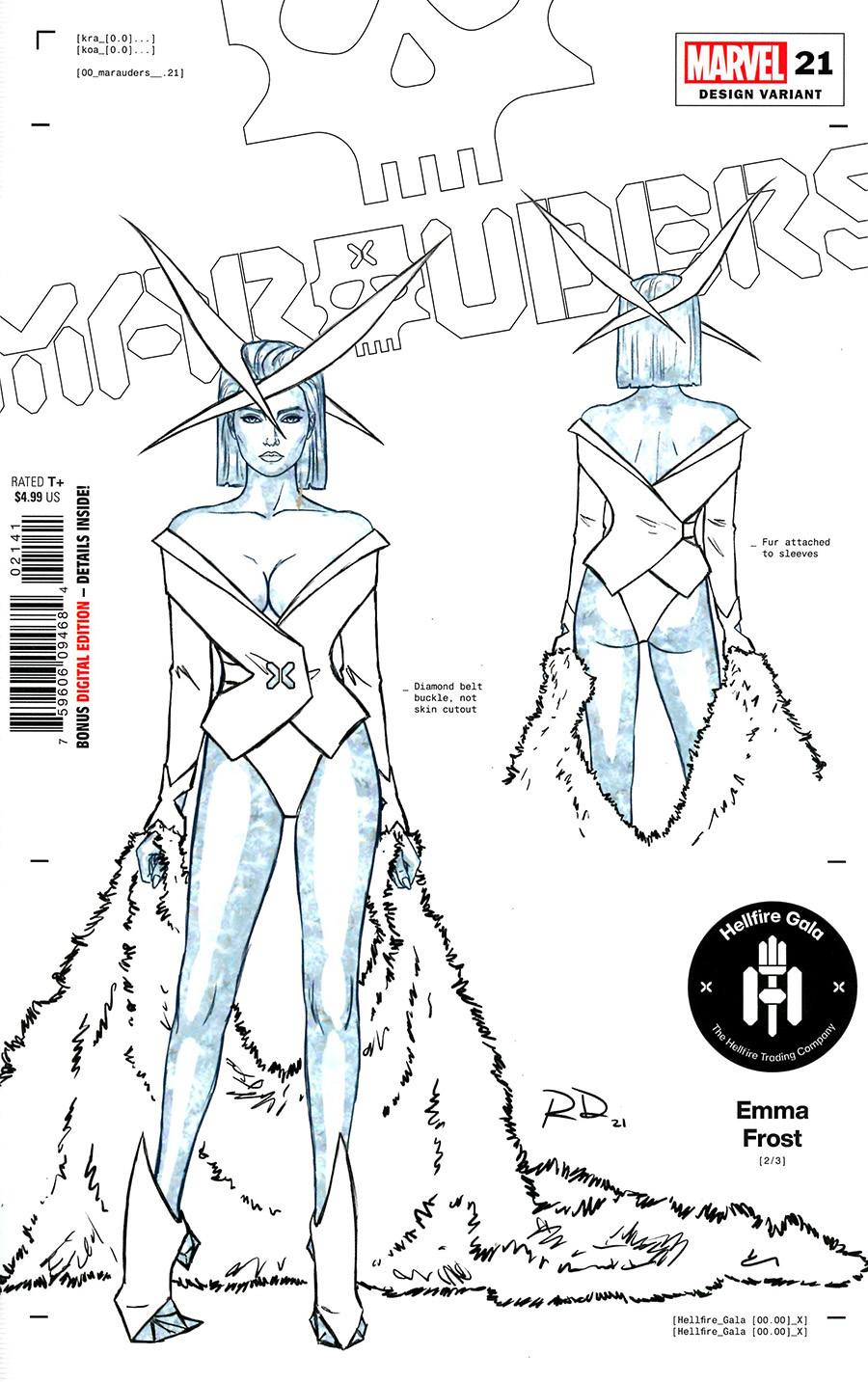 Marauders #21 Cover F Incentive Russell Dauterman Emma Frost Character Design Variant Cover (Hellfire Gala Tie-In)