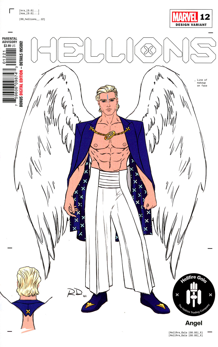 Hellions #12 Cover D Incentive Russell Dauterman Angel Character Design Variant Cover (Hellfire Gala Tie-In)