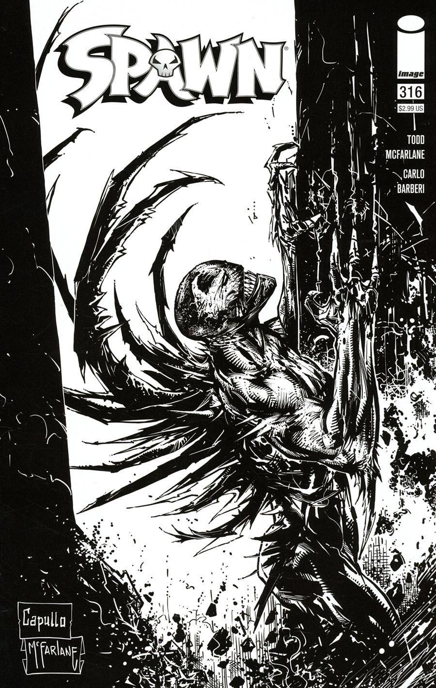 Spawn #316 Cover D Incentive Greg Capullo & Todd McFarlane Black & White Cover