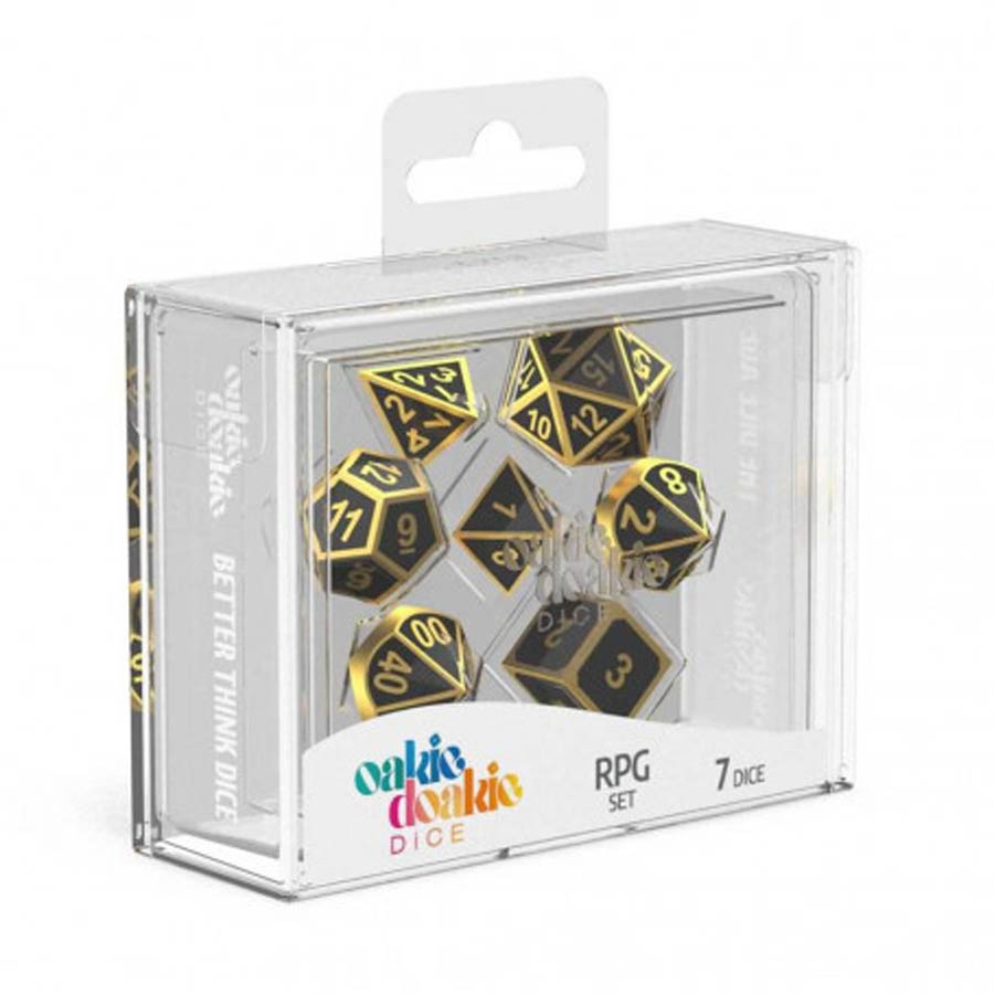 Roll Playing Game 7-Piece Metal Dice Set - Alchemy Gold