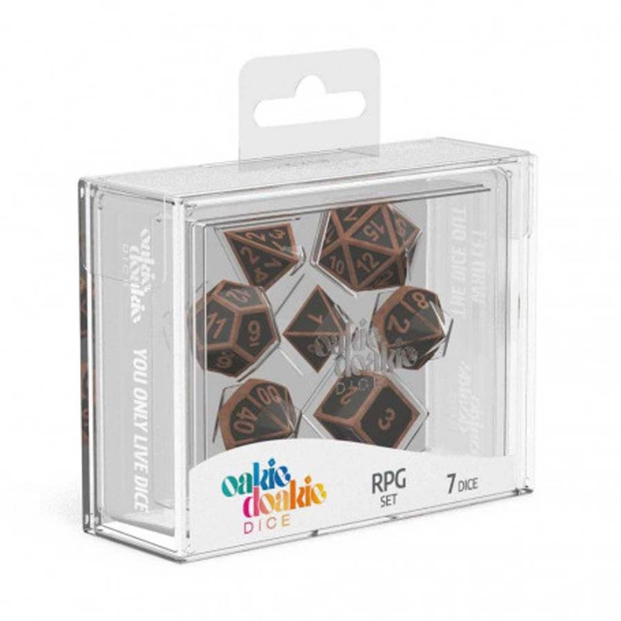 Roll Playing Game 7-Piece Metal Dice Set - Steampunk