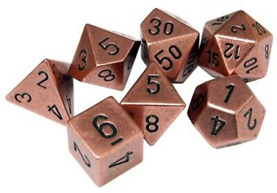Roll Playing Game 7-Piece Metal Dice Set - Copper