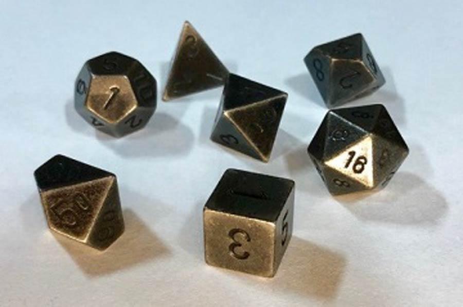 Roll Playing Game 7-Piece Metal Dice Set - Dark Metal