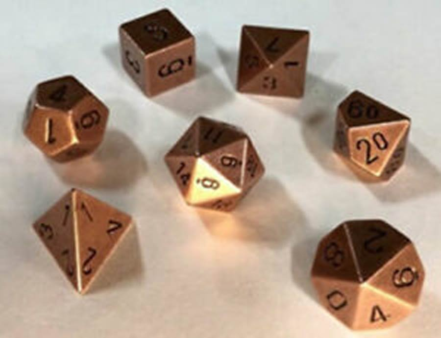 Roll Playing Game 7-Piece Metal Dice Set - Old Brass