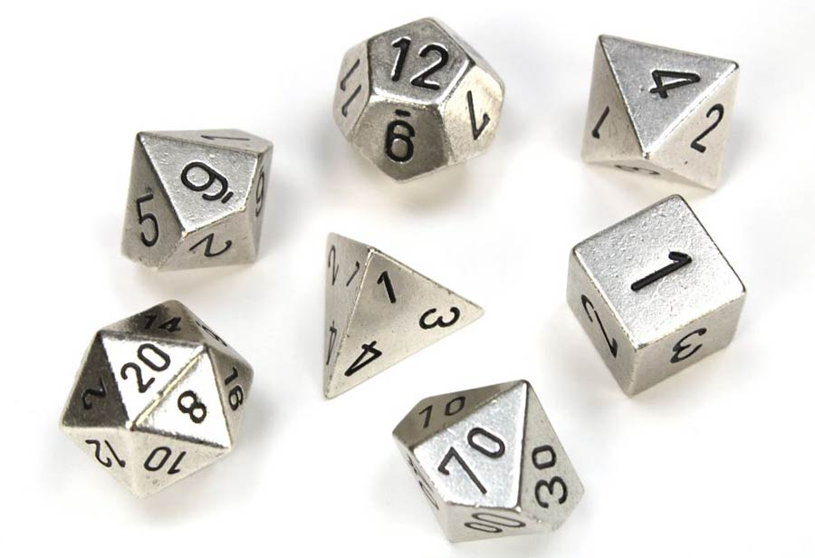Roll Playing Game 7-Piece Metal Dice Set - Silver
