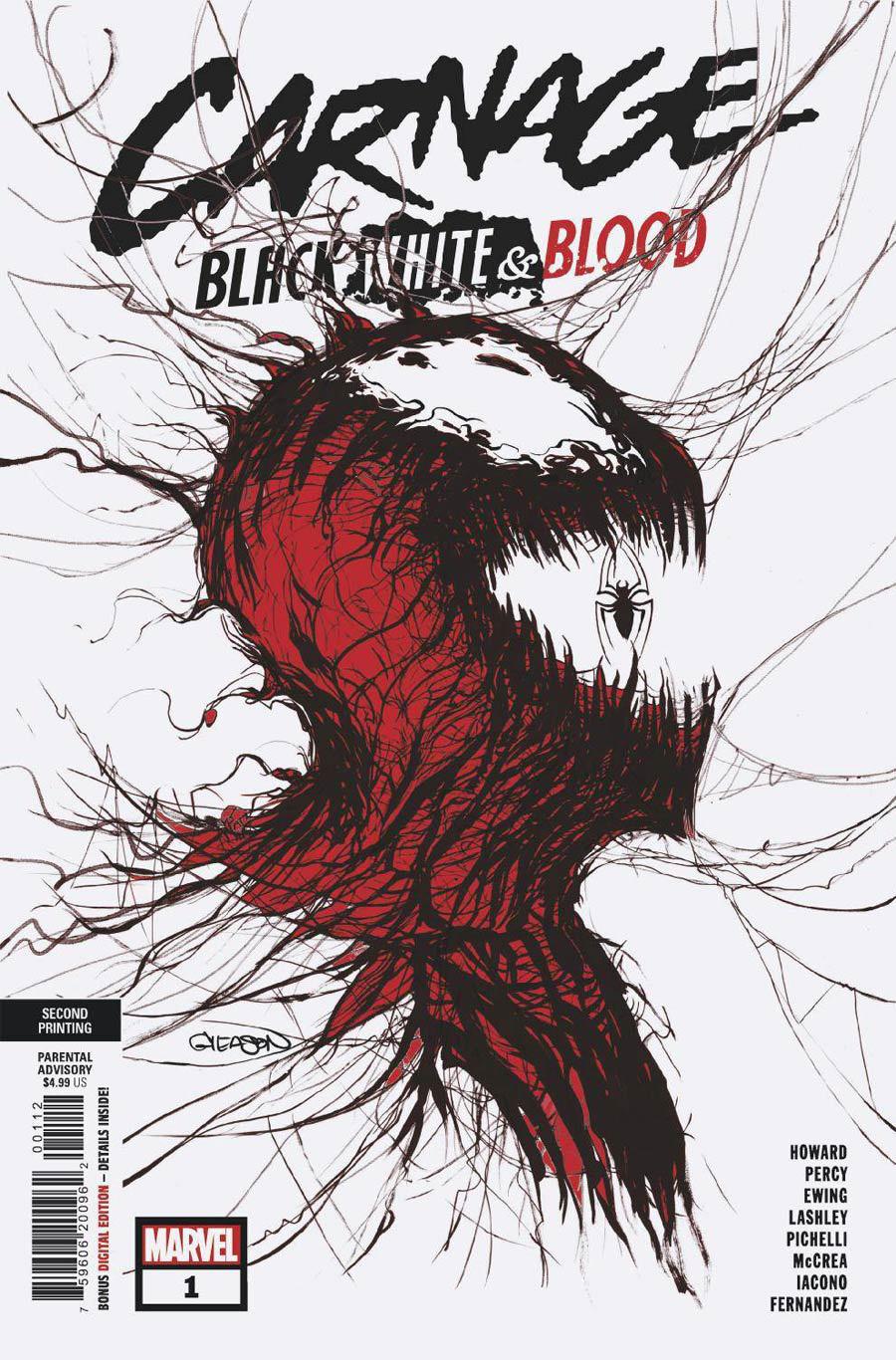 Carnage Black White & Blood #1 Cover K 2nd Ptg Patrick Gleason Webhead Variant Cover