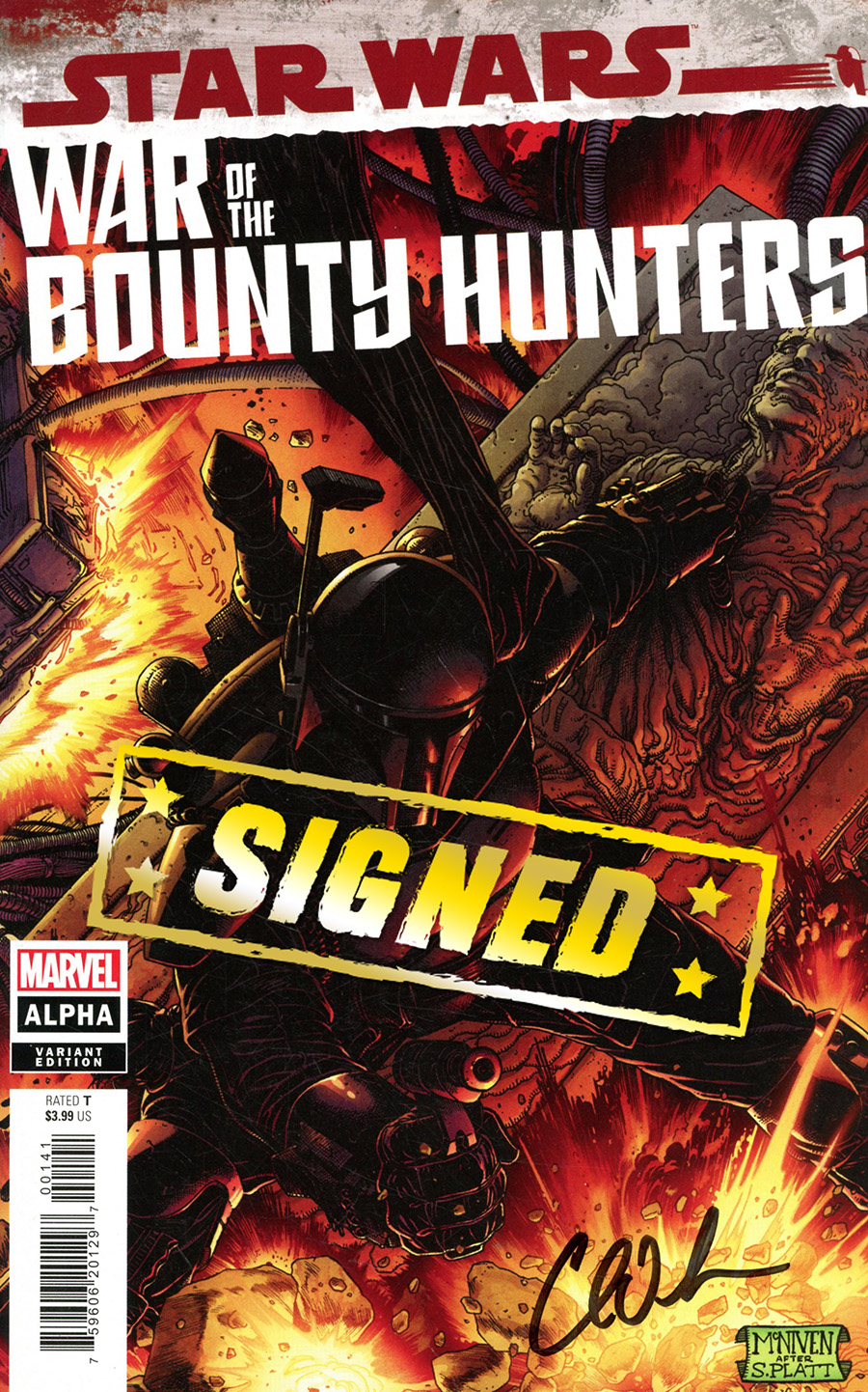 Star Wars War Of The Bounty Hunters Alpha #1 (One Shot) Cover M Incentive Steve McNiven Boba Fett Black Armor Variant Cover Signed By Charles Soule