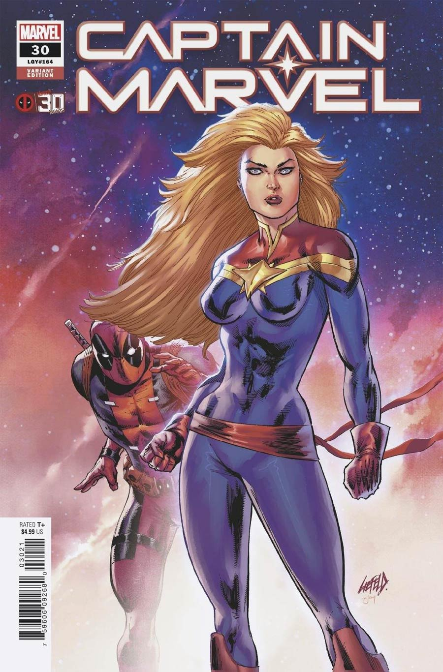 Captain Marvel Vol 9 #30 Cover C Variant Rob Liefeld Deadpool 30th Anniversary Cover
