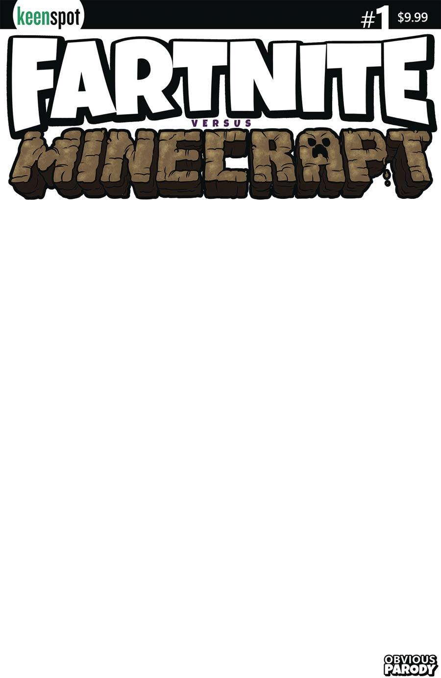 Fartnite vs Minecrapt #1 Cover B Variant Blank Cover