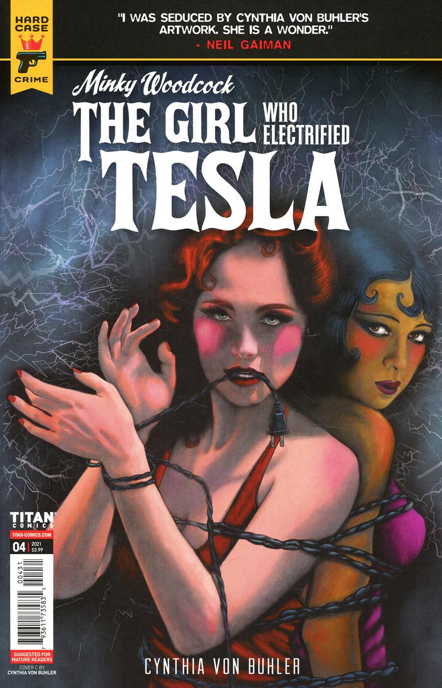 Hard Case Crime Minky Woodcock Girl Who Electrified Tesla #4 Cover C Variant Cynthia von Buhler Cover
