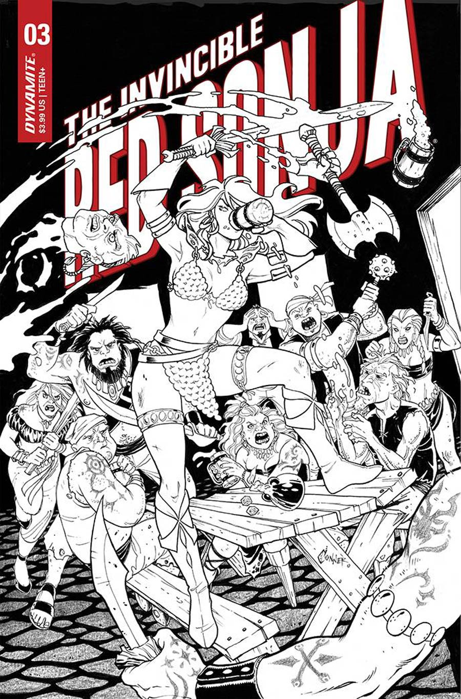Invincible Red Sonja #3 Cover G Incentive Amanda Conner Line Art Cover