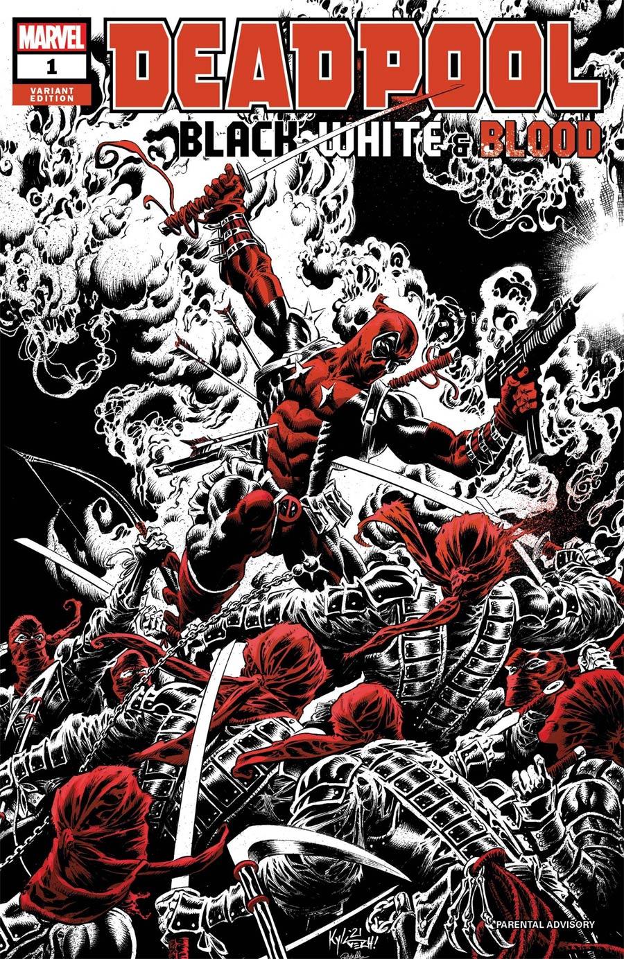 Deadpool Black White & Blood #1 Cover B Variant Kyle Hotz Cover