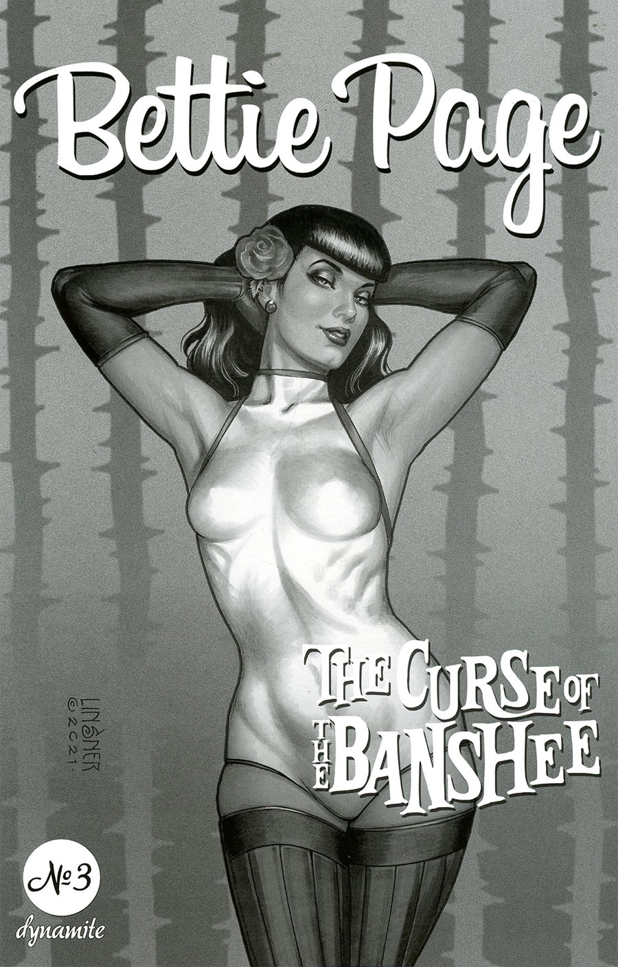 Bettie Page And The Curse Of The Banshee #3 Cover L Incentive Joseph Michael Linsner Black & White Cover