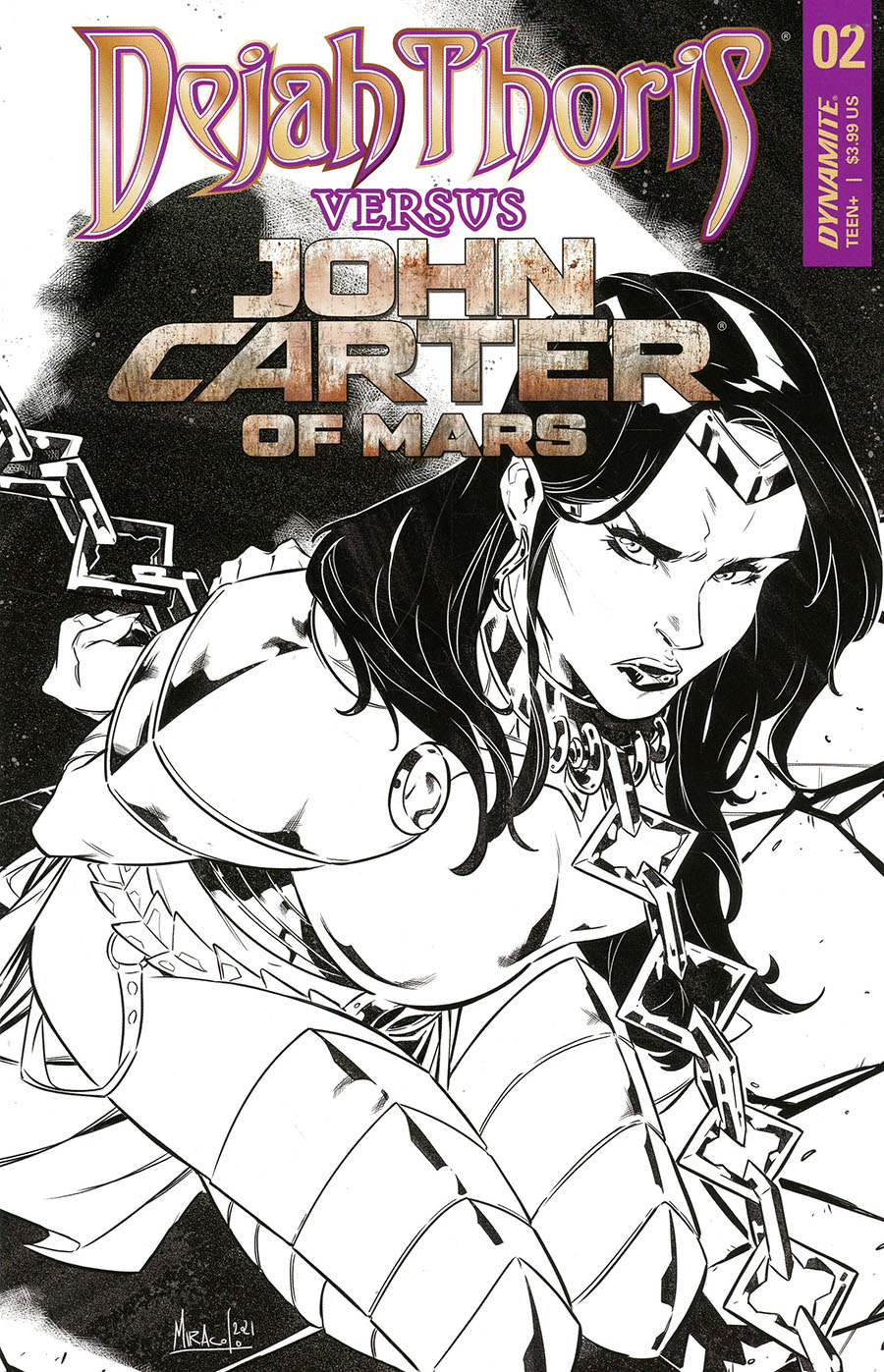 Dejah Thoris Versus John Carter Of Mars #2 Cover F Incentive Alessandro Miracolo Line Art Cover