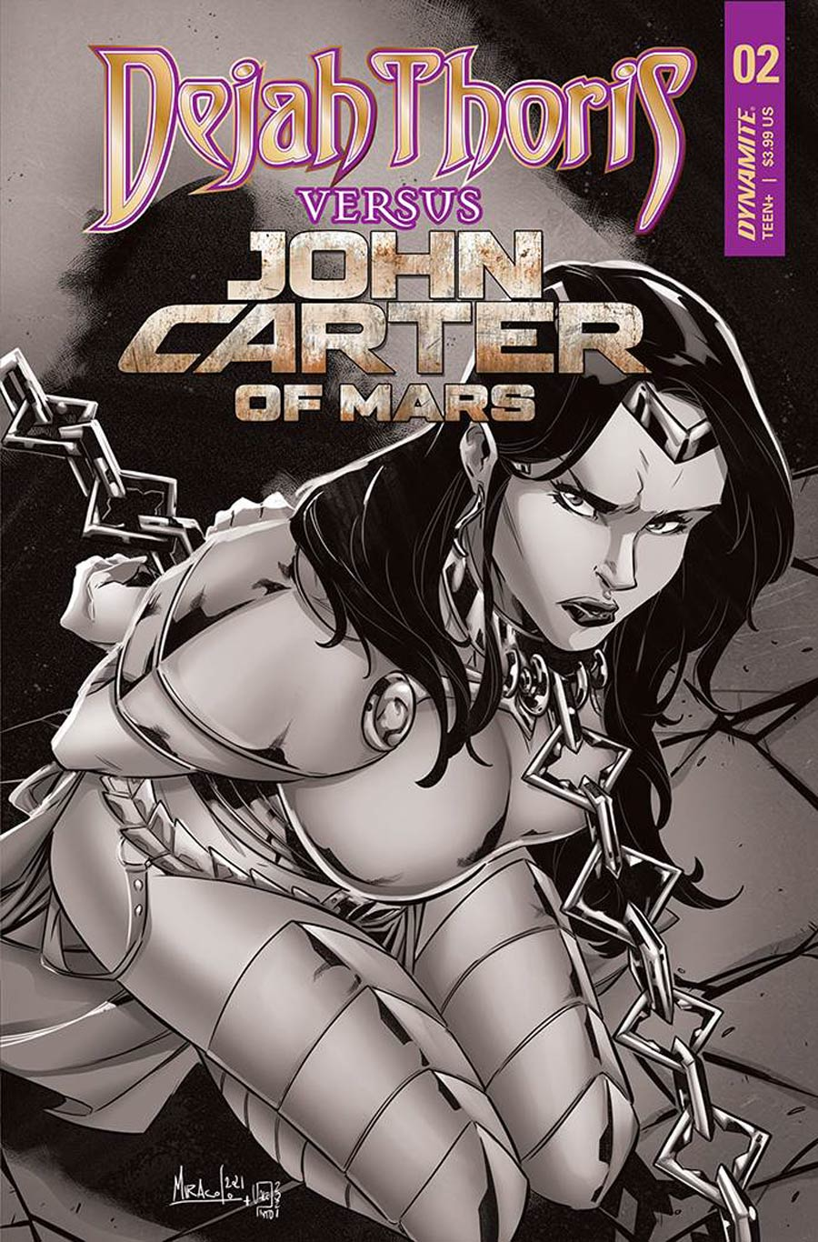 Dejah Thoris Versus John Carter Of Mars #2 Cover G Incentive Alessandro Miracolo Black & White Cover