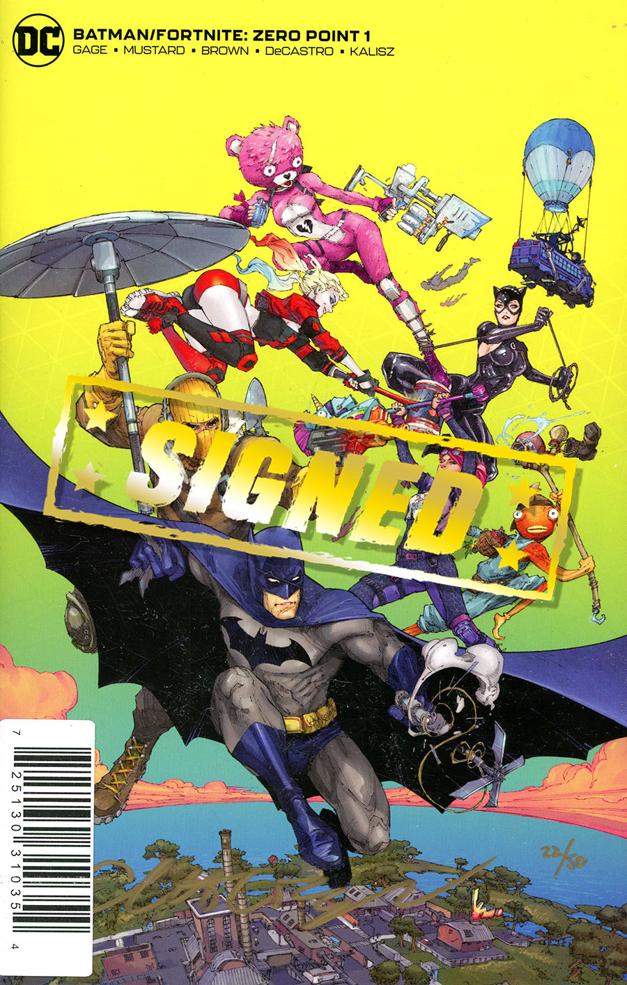 Batman Fortnite Zero Point #1 Cover E DF Gold Signature Series Signed By Christos Gage