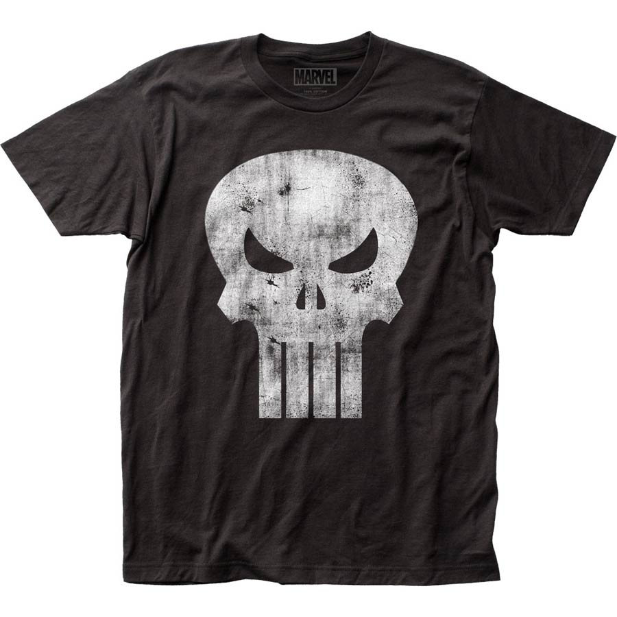 Punisher Distressed Logo Fitted Jersey Black T-Shirt Large